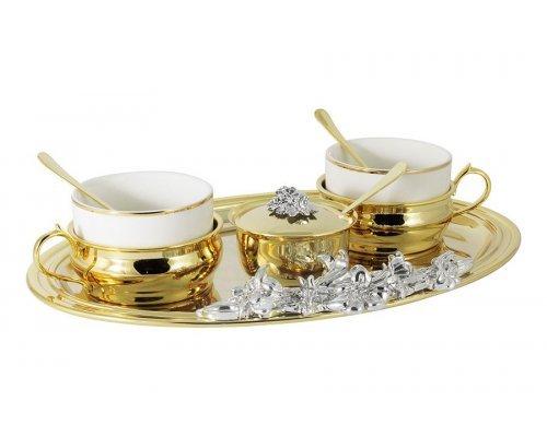 Чайный набор Giglio CHINELLI Gamma золотой на 2 персоны 9 предметов