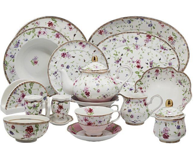 Чайно-столовый сервиз Lenardi Розали на 12 персон 88 предметов в подарочной упаковке