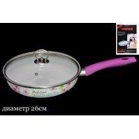Сковородка эмалированная с крышкой 26см. Lenardi Розовый рай в подарочной упаковке