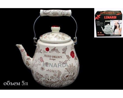 Чайник эмалированный 5л. Lenardi Птичий дворик в подарочной упаковке
