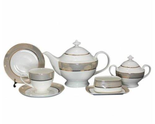 Чайный сервиз Lenardi Золотая симфония на 6 персон 18 предметов в подарочной упаковке Костяной фарфор
