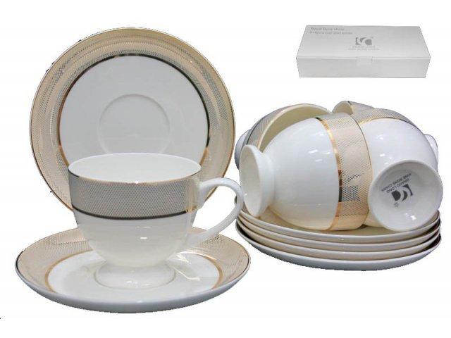 Чайный набор Lenardi Золотая симфония на 6 персон 12 предметов в подарочной упаковке Костяной фарфор