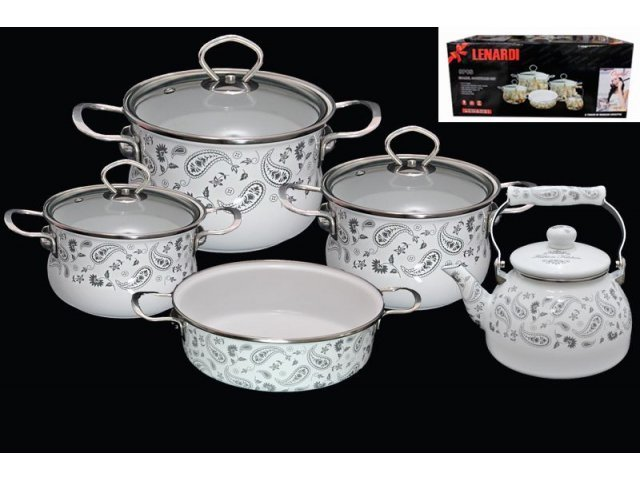 Набор эмалированной посуды из 9 предметов Lenardi Стиль Этро в подарочной упаковке