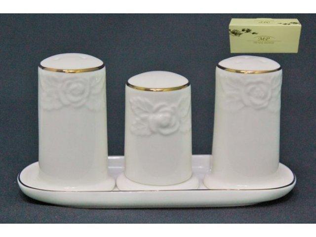 Набор солонок Lenardi Белая роза в подарочной упаковке Костяной фарфор