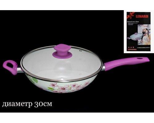Сковородка с крышкой Lenardi Розовый рай 30см. в подарочной упаковке