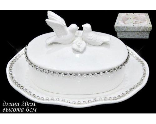 Масленка Lenardi Голубь и голубка в подарочной упаковке Керамика
