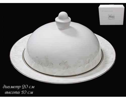 Масленка Lenardi Серый шелк в подарочной упаковке Костянной фарфор