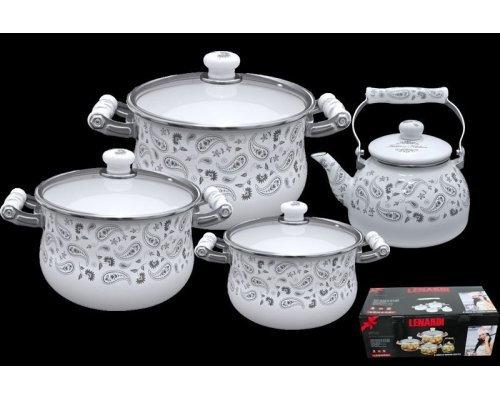 Набор эмалированной посуды из 8 предметов Lenardi Стиль Этро в подарочной упаковке