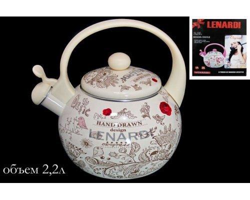 Чайник эмалированный 2,2л. Lenardi Птичий дворик в подарочной упаковке
