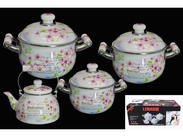 Набор из 3 эмалированных кастрюль с крышками Lenardi Розовый рай в подарочной упаковке