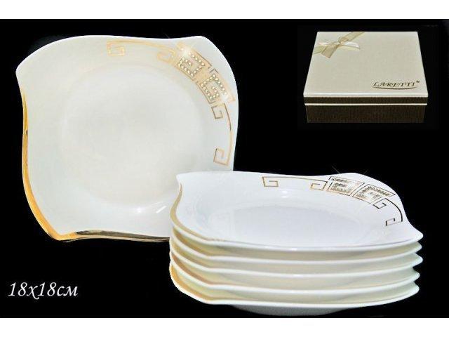 Набор из 6 тарелок 18 см в под.уп Стразы золото. Фарфор