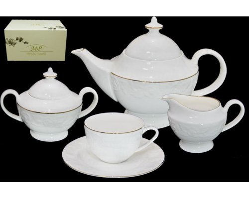 Чайный сервиз Lenardi Белая роза на 6 персон 17 предметов в подарочной упаковке