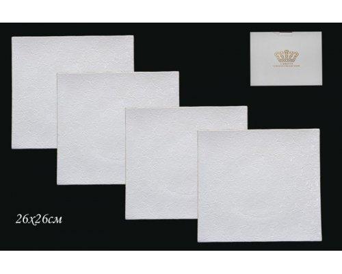 Набор из 4 тарелок 26см Lenardi Белая роза в подарочной упаковке Фарфор