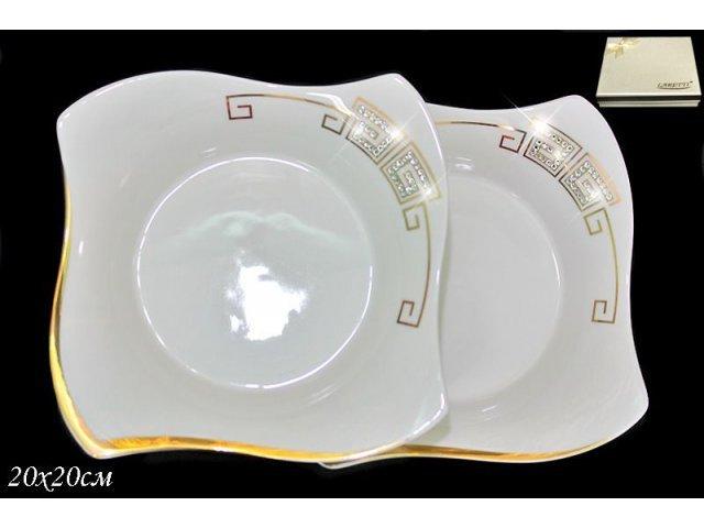 Набор из 2 глубоких тарелок 20см. в подарочной упаковке Lenardi Стразы золото Фарфор