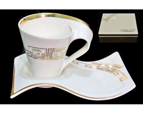 Кофейный набор 2 предмета 90 мл. в подарочной упаковке Стразы золото