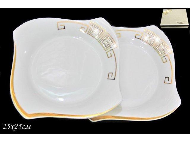Набор из 2 тарелок 25см. в подарочной упаковке Lenardi Стразы золото Фарфор