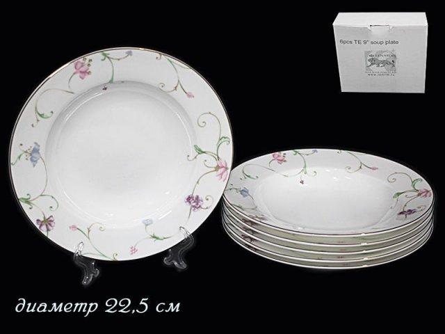 Набор 6 глубоких тарелок 22,5см Lenardi Английский сад в подарочной упаковке