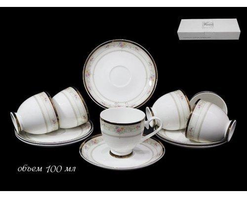 Кофейный набор Lenardi Лагуна на 6 персон 12 предметов в подарочной упаковке Костяной фарфор