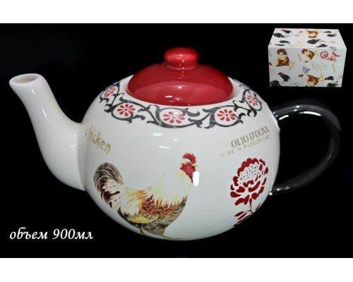 Чайник заварочный Lenardi Итальянский петух в подарочной упаковке 900мл Керамика