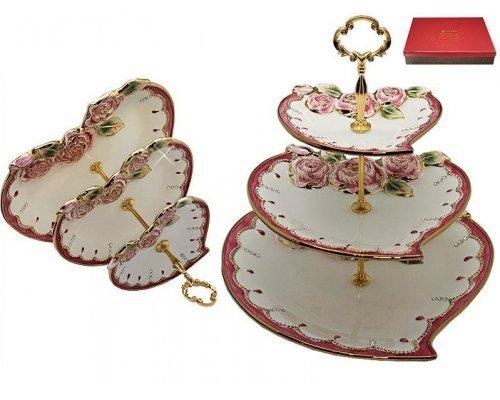 Трехъярусная этажерка в форме сердца Роза Lenardi в подарочной упаковке