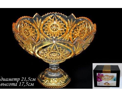 Конфетница на ножке 21,5см. Lenardi Golden в подарочной упаковке Стекло