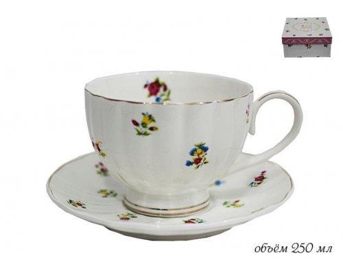 Чашка с блюдцем 250мл. Полевые цветы Lenardi в подарочной упаковке фарфор
