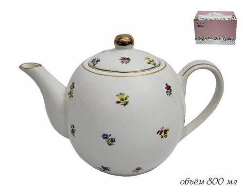Чайник с крышкой 750мл. Полевые цветы Lenardi в подарочной упаковке фарфор