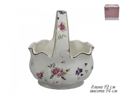 Конфетница в форме корзины 14см Lenardi Флоренс в подарочной упаковке Фарфор