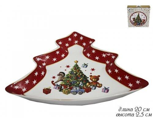 Блюдо Елка Новогодняя коллекция Lenardi в подарочной упаковке фарфор