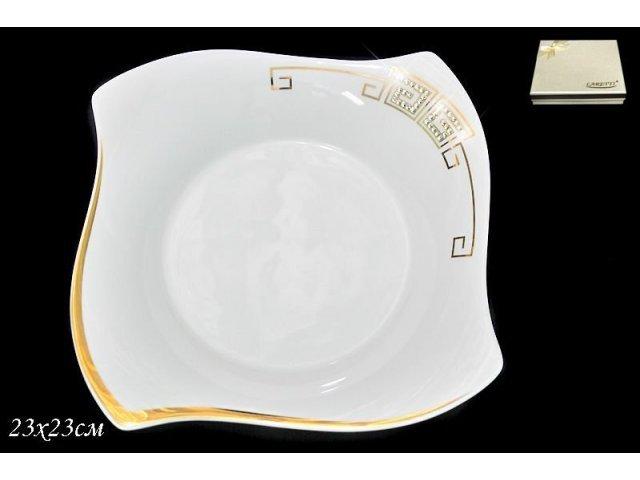 Глубокая тарелка 23см. в подарочной упаковке Lenardi Стразы золото Фарфор