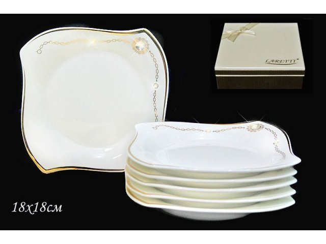 Набор из 6 тарелок 18см. Lenardi Золотая цепь в подарочной упаковке Фарфор