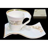 Чайный набор 2 предмета 200 мл. в подарочной упаковке Стразы золото