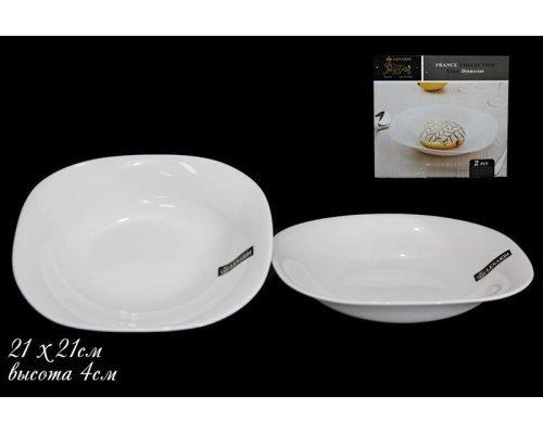 Набор из 2х глубоких тарелок 21см Lenardi White в подарочной упаковке Опаловое стекло