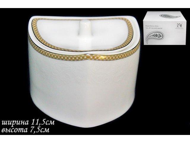 Сахарница с крышкой в подарочной упаковке Lenardi Galaxy gold Костяной фарфор