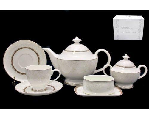 Чайный сервиз Lenardi Серый шелк на 6 персон 18 предметов в подарочной упаковке