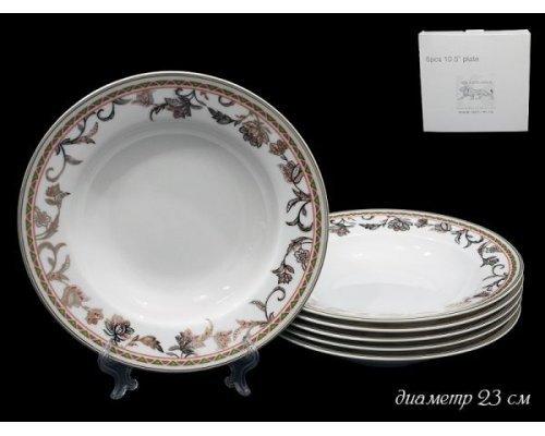 Набор глубоких тарелок 23 см Lenardi Золотой цветок 6 штук