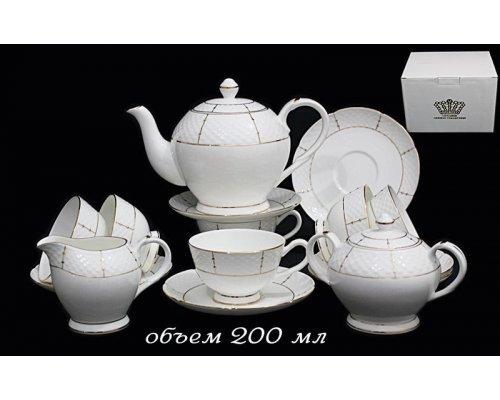 Чайный сервиз Lenardi Президентский на 6 персон 15 предметов в подарочной упаковке Фарфор