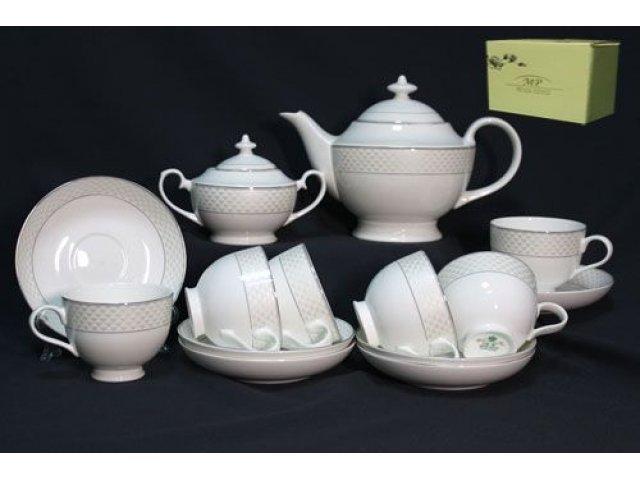 Чайный сервиз в подарочной упаковке Lenardi Арлекин на 6 персон 16 предметов Костяной фарфор