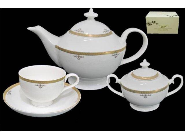 Чайный сервиз в подарочной упаковке Lenardi Ампир на 6 персон 16 предметов Костяной фарфор