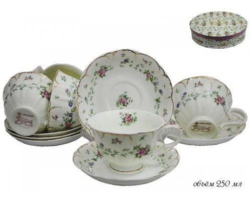 Чайный набор Lenardi Розали на 6 персон 12 предметов в подарочной упаковке Фарфор