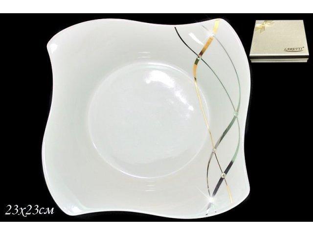 Глубокая тарелка 23см. Lenardi Серебряная лента в подарочной упаковке Фарфор