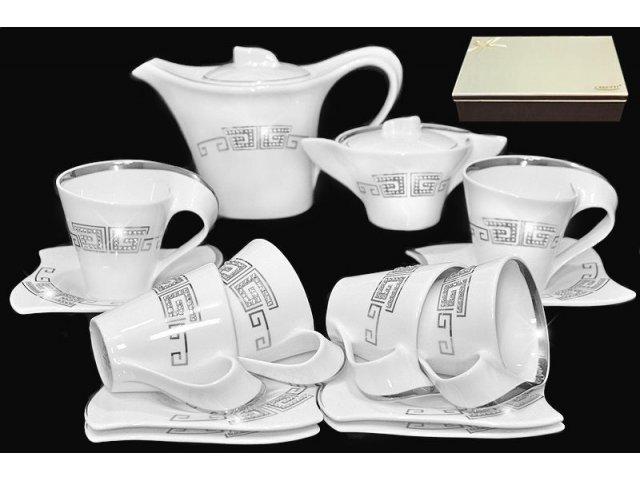 Чайный сервиз в подарочной упаковке Lenardi Стразы серебро на 6 персон 16 предметов Фарфор