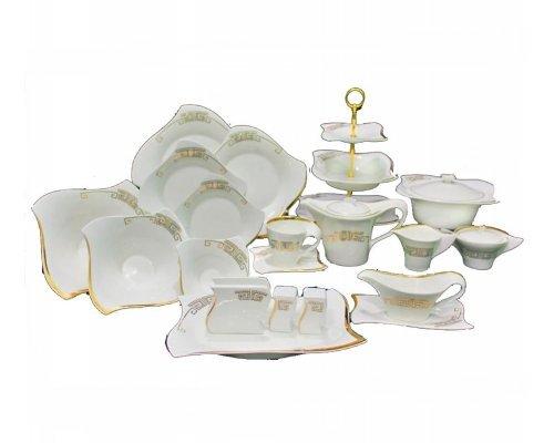 Обеденный сервиз Lenardi Стразы золото на 12 персон 100 предметов в подарочной упаковке