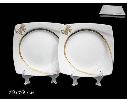 Набор их 2-х тарелок 19см в подарочной упаковке Lenardi Бантик Фарфор