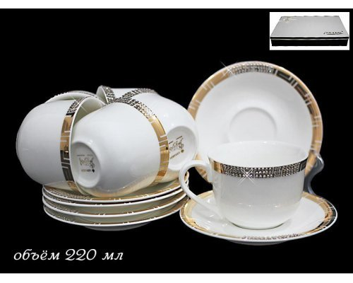 Чайный набор в подарочной упаковке Lenardi Романтика на 6 персон 12 предметов Фарфор