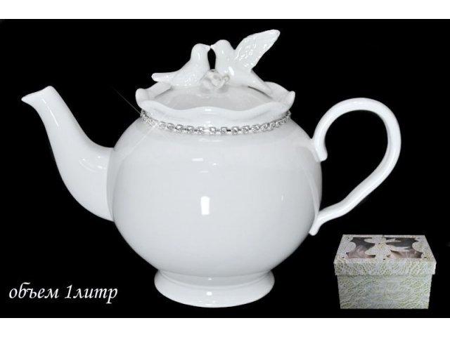 Чайник Lenardi Голубь и голубка в подарочной упаковке 1000мл. Керамика