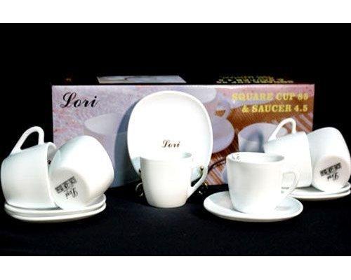Кофейный набор Lenardi White на 6 персон 12 предметов в подарочной упаковке Опаловое стекло