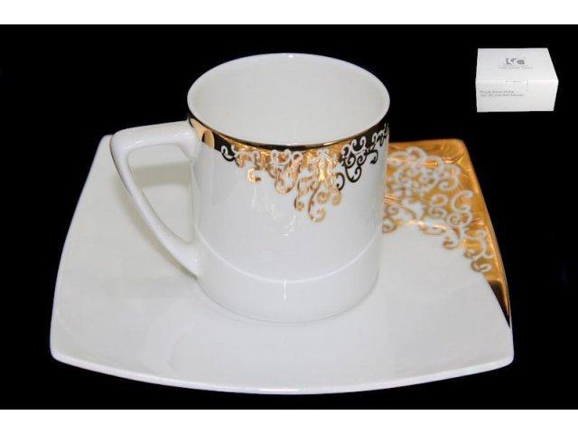 Чашка с блюдцем Lenardi Золотой орнамент в подарочной упаковке Костяной фарфор