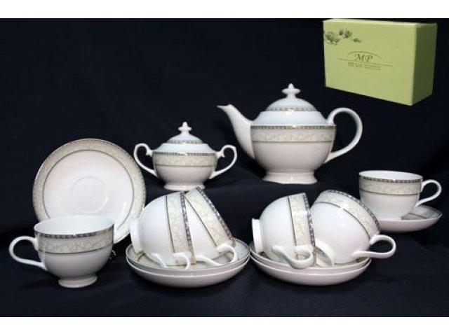 Чайный сервиз в подарочной упаковке Lenardi Элегант на 6 персон 16 предметов Костяной фарфор