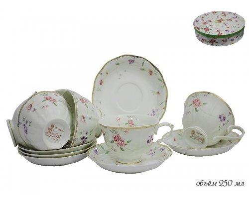 Чайный набор Lenardi Флоренс на 6 персон 12 предметов в подарочной упаковке Фарфор